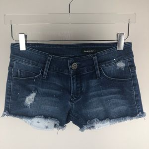 Black Orchid Sparkle Frayed cutoff Denim shorts 25